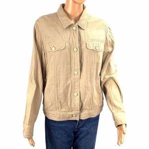 J. Jill Women's Cotton Beige Jacket Medium